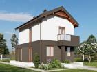 Двухэтажный дом с  террасой и балконом